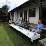 Lunch on lawns of Dhampus Lodge