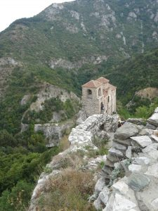 Asen's Fortress overlooking mountain passes and church